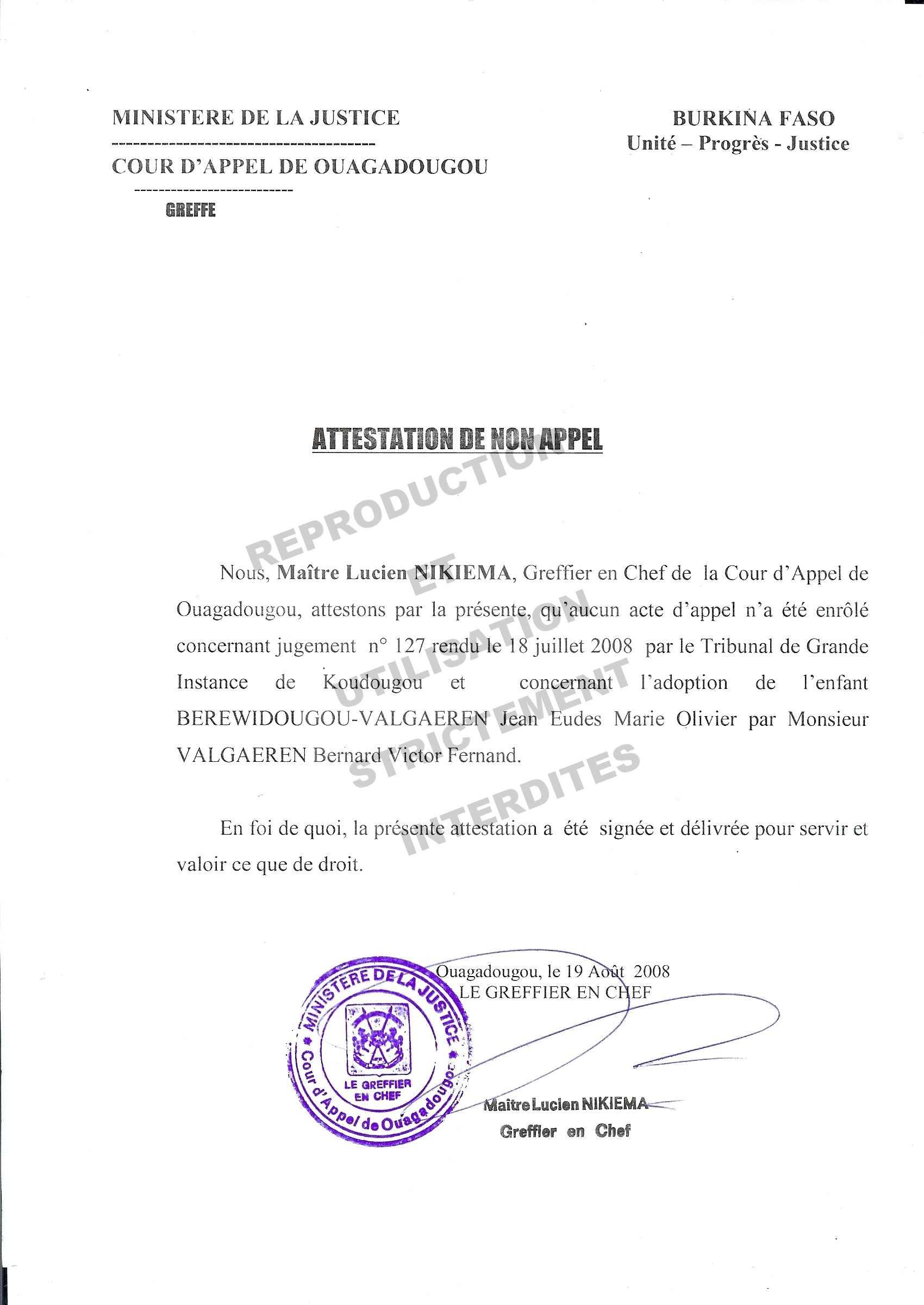 2008 08 19 certificat de non appel au jugement d 39 adoption adoption jean eudes. Black Bedroom Furniture Sets. Home Design Ideas